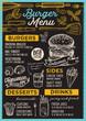 Burger restaurant menu. Vector food flyer for bar and cafe. Design template with vintage hand-drawn illustrations. - 192947612