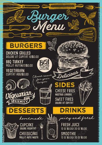 Fototapeta Burger restaurant menu. Vector food flyer for bar and cafe. Design template with vintage hand-drawn illustrations.