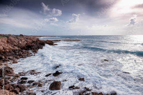 Poster Cyprus a fantastic stunning colorful landscape, a blue sea shore, the coast of Cyprus, the neighborhood of Paphos
