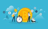 Bitcoin exchange. Flat design style web banner of blockchain technology, bitcoin, altcoins, cryptocurrency mining, finance, digital money market, cryptocoin wallet, crypto exchange.  - 192948217