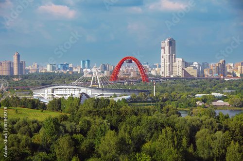 Staande foto Sydney Moscow, Russia. Aerial view of city in the park