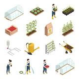 Greenhouse Elements Isometric Icons Set - 192949425