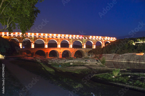 Port de guard, France. Night view of the aqueduct