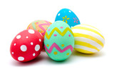 Perfect colorful handmade easter eggs isolated on a white - 192949828