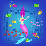 Underwater World Little Mermaid Fishes Plants And A Pearl  Illustration Wall Sticker