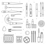 Set of decorative cosmetics, hand drawn style. Isolated elements. - 192956264