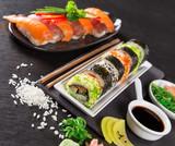 Japanese Sushi over black background. - 192957411