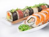 Japanese Sushi over white background. - 192957423