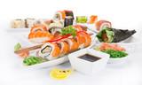 Japanese Sushi over white background. - 192957443