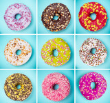 Tasty doughnuts collection on pastel blue background. - 192957470