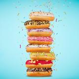 Tasty doughnuts on pastel blue background. - 192957481