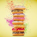 Tasty doughnuts on pastel blue background. - 192957496