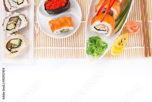 Japanese Sushi over white background.