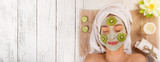 Young healthy woman with face clay mask. - 192957635