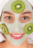 Young healthy woman with face clay mask. - 192957639