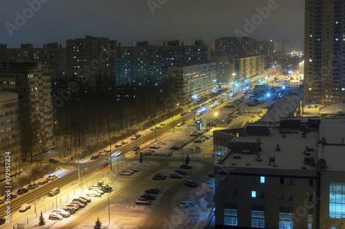 The sleeping area of the big city is a night view from above of