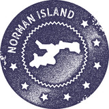 Norman Island map vintage stamp. Retro style handmade label, badge or element for travel souvenirs. Deep purple rubber stamp with island map silhouette. Vector illustration. - 192960060