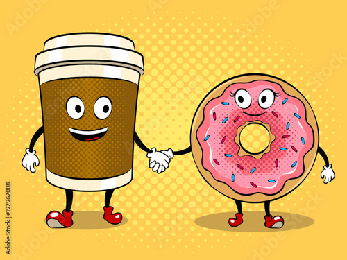 Coffee cup and donut pop art vector