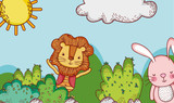 Cute lion and bunny in forest doodle cartoons - 192962251