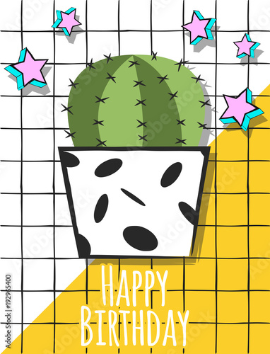 Papiers peints Retro sign cactus birthday 2