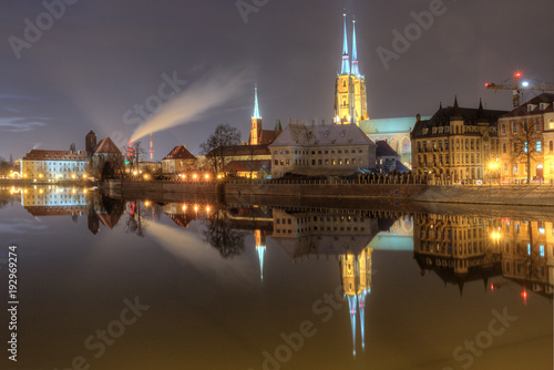 Evening view of the old city Wroclaw, Poland.