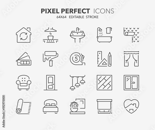 home decoration thin line icons - 192970000