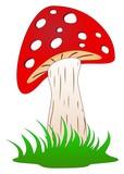 Pilz Oder Fliegenpilz Im Grünen Gras Als Vektor Im Cartoon Style Auf Einem Weißen Isolierten Hintergrund Wall Sticker