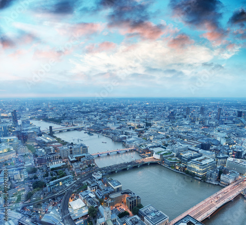 Aerial view of London skyline at night, London