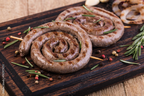 Wall mural Grilled sausages