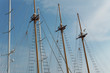 Mast of a ship against a clear blue sky