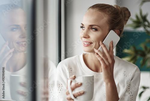 Sticker Cheerful businesswoman taking a break