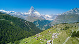 Matterhorn mountain in Swiss Alps from the drone perspective