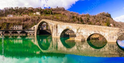 Plexiglas Freesurf Ponte della Maddalena- picturesque scenery with ancient bridge in the Italian province of Lucca