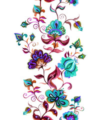 Ethnic eastern european floral frame - seamless border with stylized flowers. Watercolor