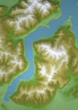 Como, mappa del lago di Como, cartina disegnata con rilievi e montagne. Ente del turismo - 192993886