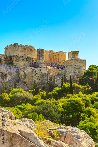 In de dag Athene Day Athens panoramic landscape with Acropolis view against blue sky, Greece