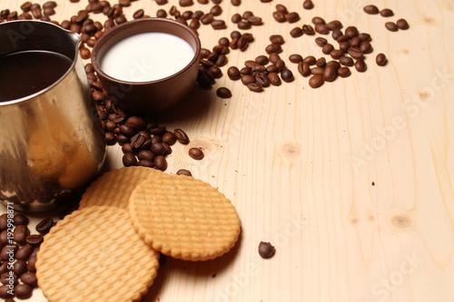 Fotobehang Koffiebonen Coffee and cookies with milk