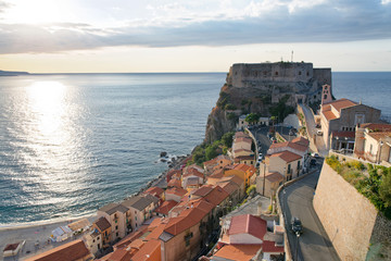 Aerial view of Scilla cityscape at sunset, Italy