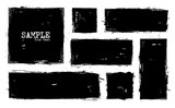 Grunge style set of square and rectangle shapes . Vector - 193002066