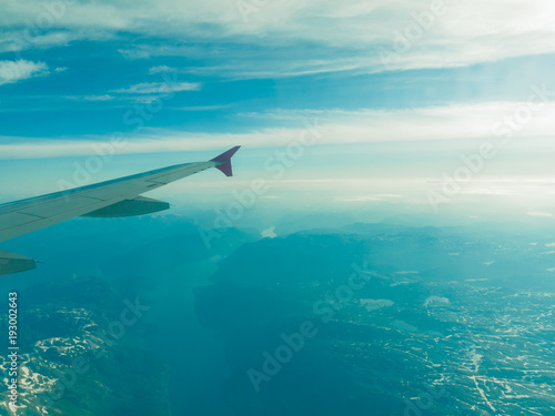 Beautiful sky and land view from plane