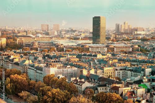 Fotobehang Herfst Vintage Paris, France shot from Notre-Dame Cathedral. Sunset colors. Autumn shot.