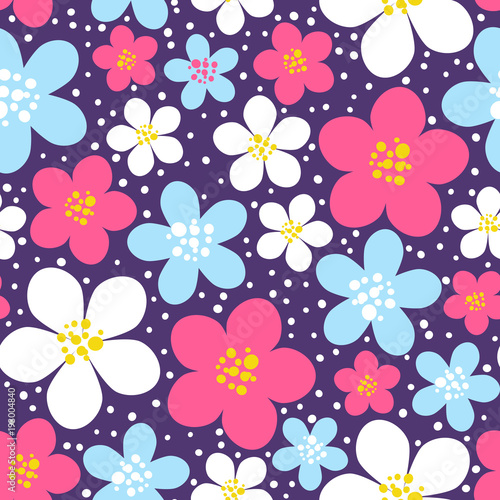 Seamless pattern with color floral ornate - 193004840