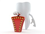 Tooth character pushing quiz button - 193010804