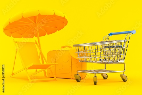 Vacation background with shopping cart