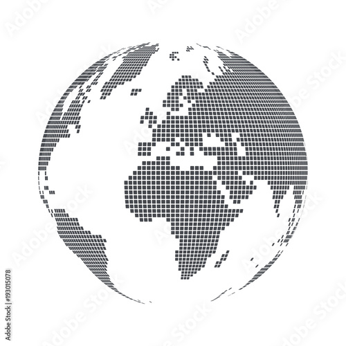 Globe shape world map with square dots vector illustration buy globe shape world map with square dots vector illustration gumiabroncs Gallery