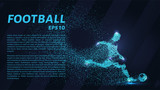 Football of the particles. Soccer is made up of dots and circles. Blue soccer player on dark background. - 193016239