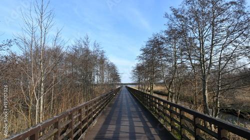 Papiers peints Voies ferrées Impressions from Wladyslawowo, a Kashubian seaside resort on the Polish Baltic Sea coast, here you can see photos of the footbridge on the Zatoka Pucka, Pomerania, Poland, Europe