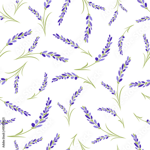 Seamless lavender flowers pattern on white background. - 193018221