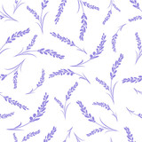 Seamless lavender flowers pattern on white background.