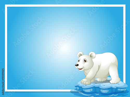 Deurstickers Kids Frame template with cute polar bear